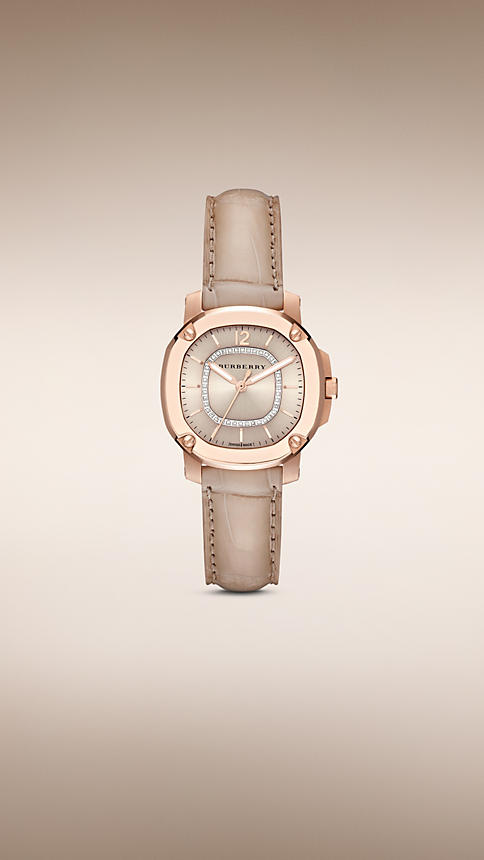 Burberry 18K Rose Gold stainless Steel Watch For Women