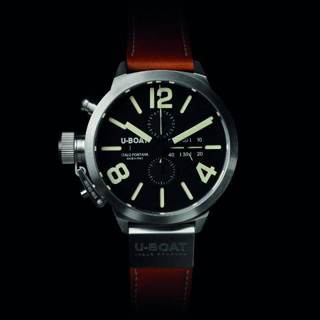 Front of U-Boat Classico black dial 45mm watch