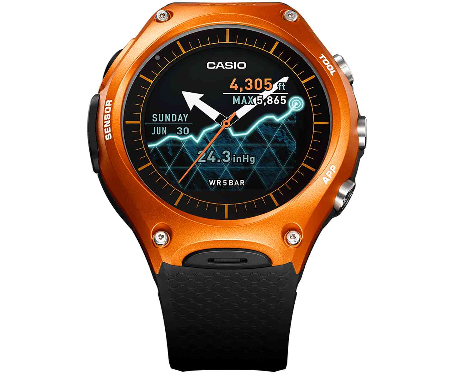 Front of Casio WSD F10 smartwatch