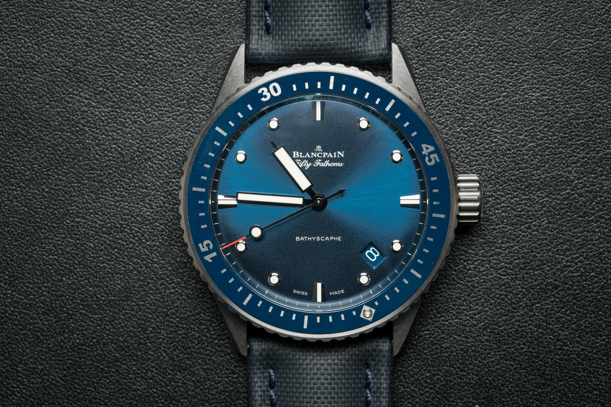 Front of Blancpain Fifty Fathoms Bathyscaphe
