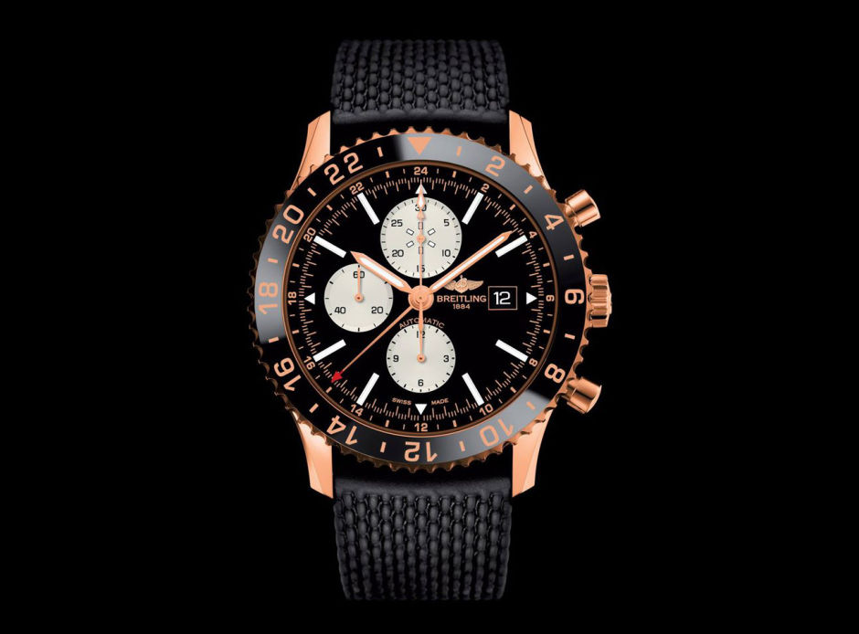 Front of Breitling Chronoliner red gold watch