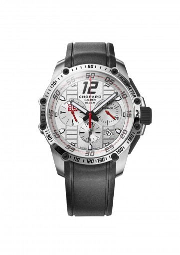 Chopard silver dial watch with black strap