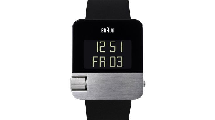 Braun BN10 digital watch with black plated stainless steel