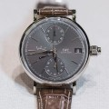Front of IWC Portofino Hand-Wound Day & Date chronograph watch