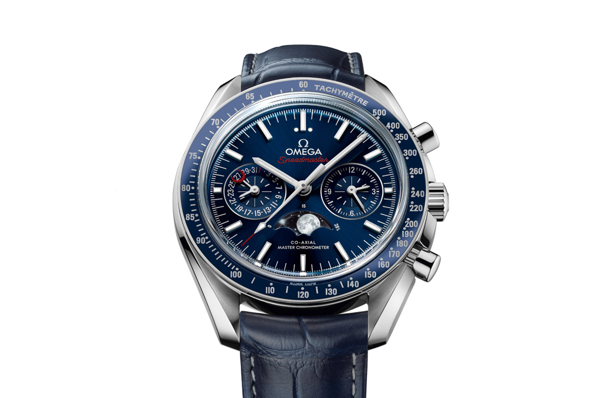 Front of Omega Speedmaster Moonphase Chronograph Master Chronometer