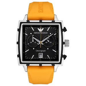Front of Emporio Armani Men's Chronograph Orange Rubber watch